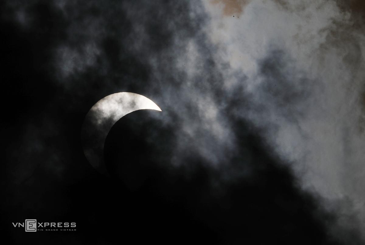 Partial solar eclipse as seen over Hanoi skies