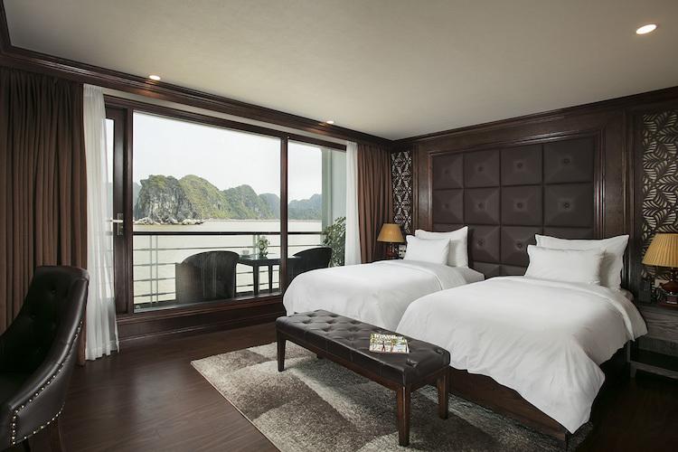 Ha Long Bay viewfrom a Mon Cheri Cruise cabin.