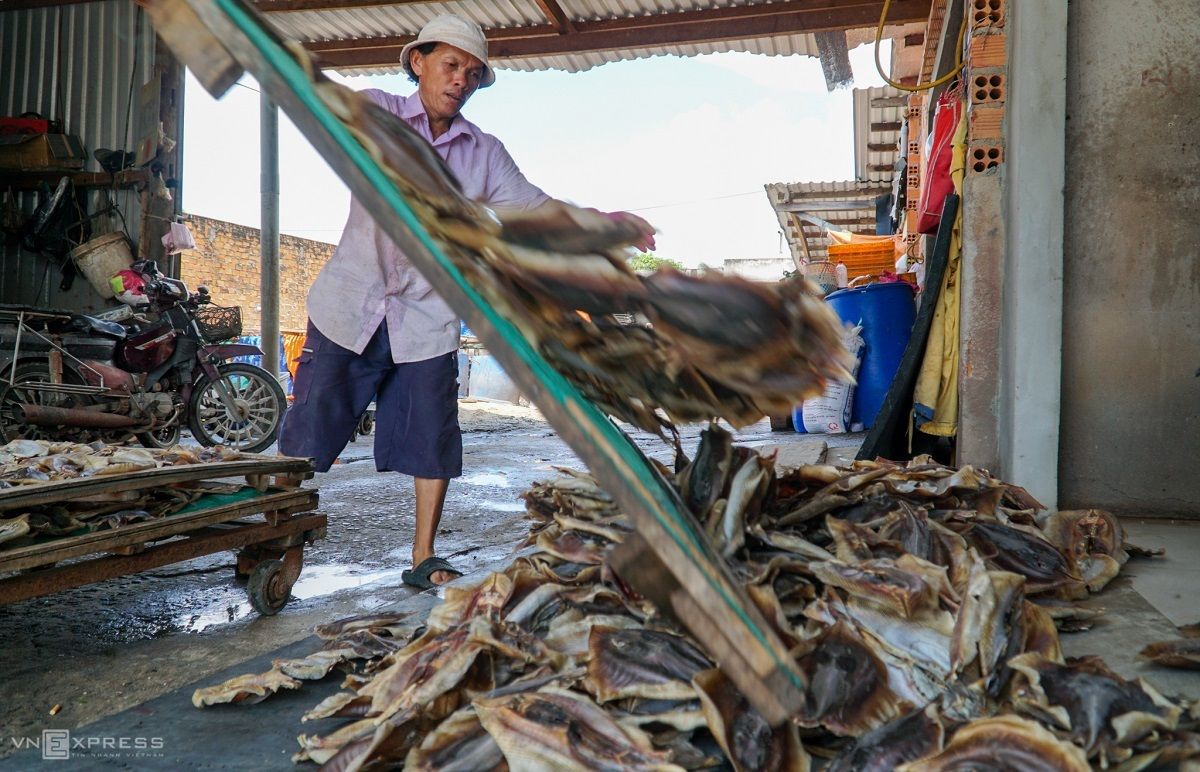 Batches of dried croakers are stacked into a pile on the mat before being packaged.