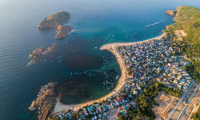 An aerial view of Nhon Hai Beach, a popular tourist destination in Quy Nhon Town, Binh Dinh Province. Photo by Pham Huy Trung.
