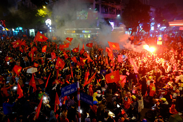 In Hanoi, the cheers go on. Photo by VnExpress/Tuan Hung