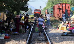 70-year-old railway market in central Vietnam poses safety hazard