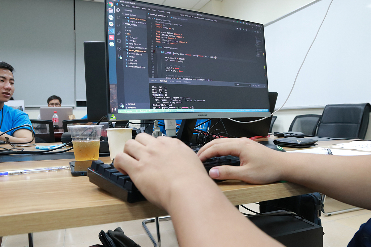 Coding in process at a hackathon held by the School of Information and Communication Technology (SoITC) under the Hanoi University of Science and Technology, June 26-28, 2020. Photo by SoITC.