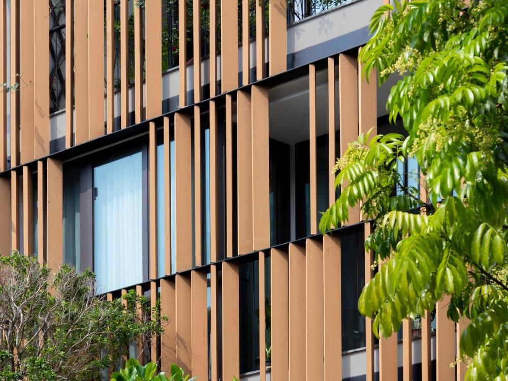 A closer look at the wooden facade.