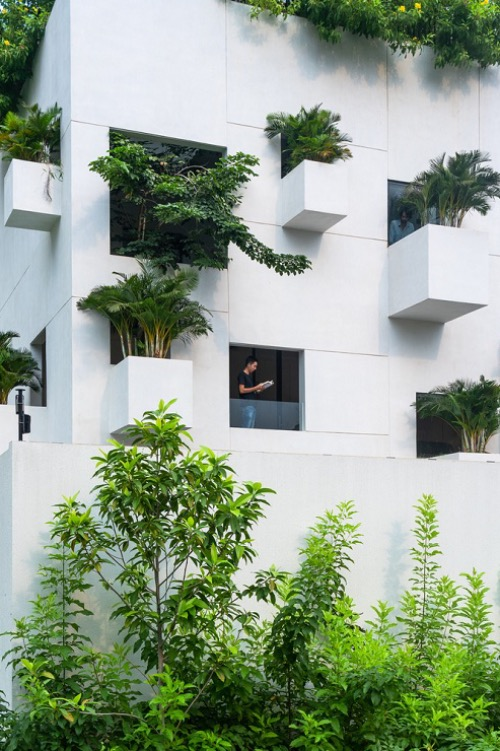 Sky House, located in the middles of numerous skyscrapers in Ho Chi Minh City, has a uniques face thanks to ten hanging gardens on its facade. These green spaces also create a link between nature and homeowners amid the urban rat race.