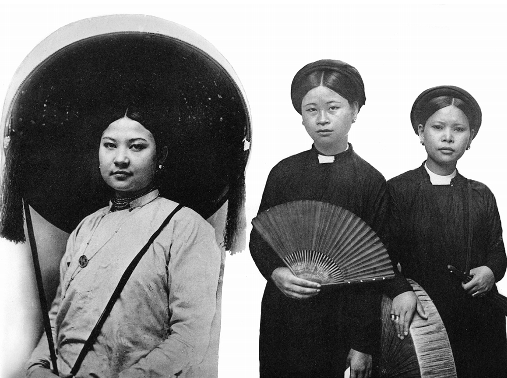Norhtern Vietnamese women in the late 19th century would typical wearing traditional costume ao dai and and a big quai thao hat.