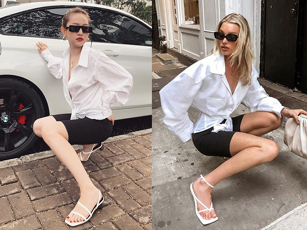 [Hosk, Swedish model and Victorias Secret Angel, is an inspiration for a lot of Vietnamese celebrities. Model Thuy Vi (L) once copied Hosks outfits and posing position. Photo courtesy of Thuy Vi and Elsa Hosk.