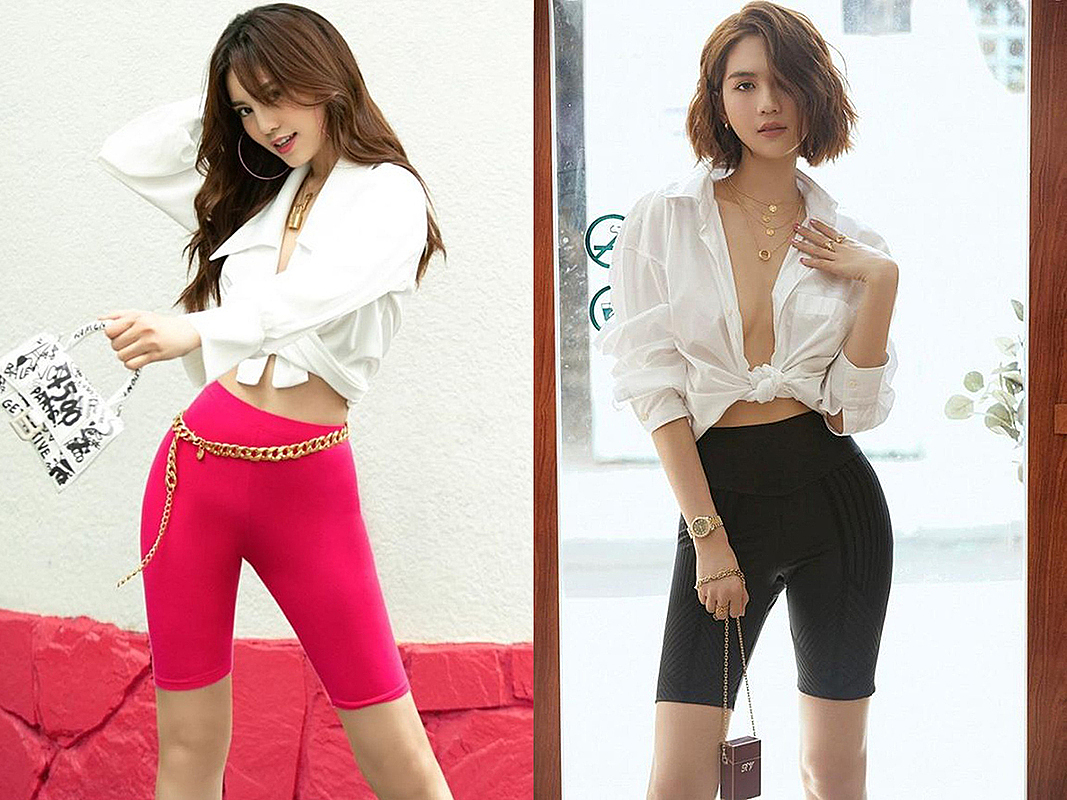Leggy display with biker shorts and a white button-up shirt from Hosks style is adopted by Vietnamese actress Ninh Duong Lan Ngoc (L) and model Ngoc Trinh (R). Photo courtesy of Ninh Duong Lan Ngoc and Ngoc Trinh.