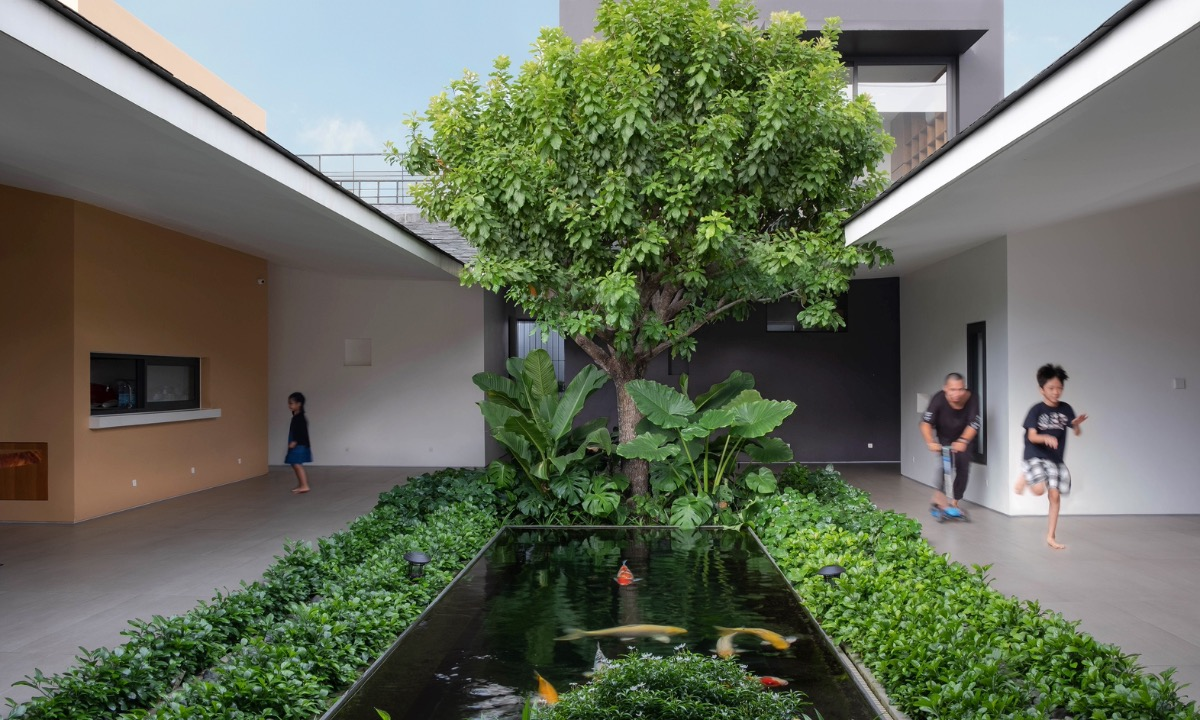 The 40-square-meter garden with varied plants and a fish pond.