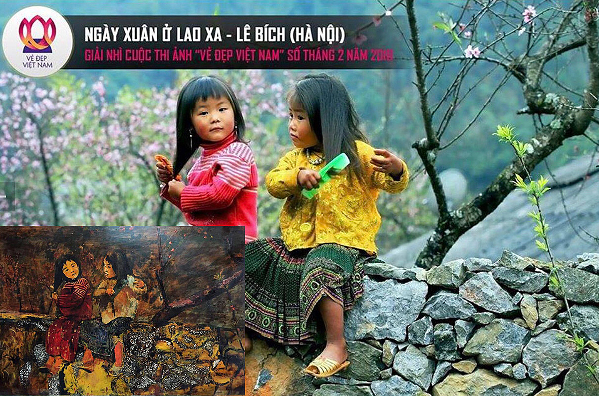 Ngay Xuan O Lao Xa (Spring In Lao Xa) and its lacquer copy in the bottom left corner. Photo courtesy of Le Bich.