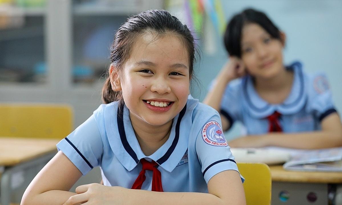 A student at Saigons Dinh Tien Hoang Primary School. Photo by VnExpress/Quynh Tran.