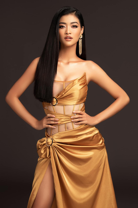 Model Kieu Loan goes for a sexy outlook with a cutout corset dress.