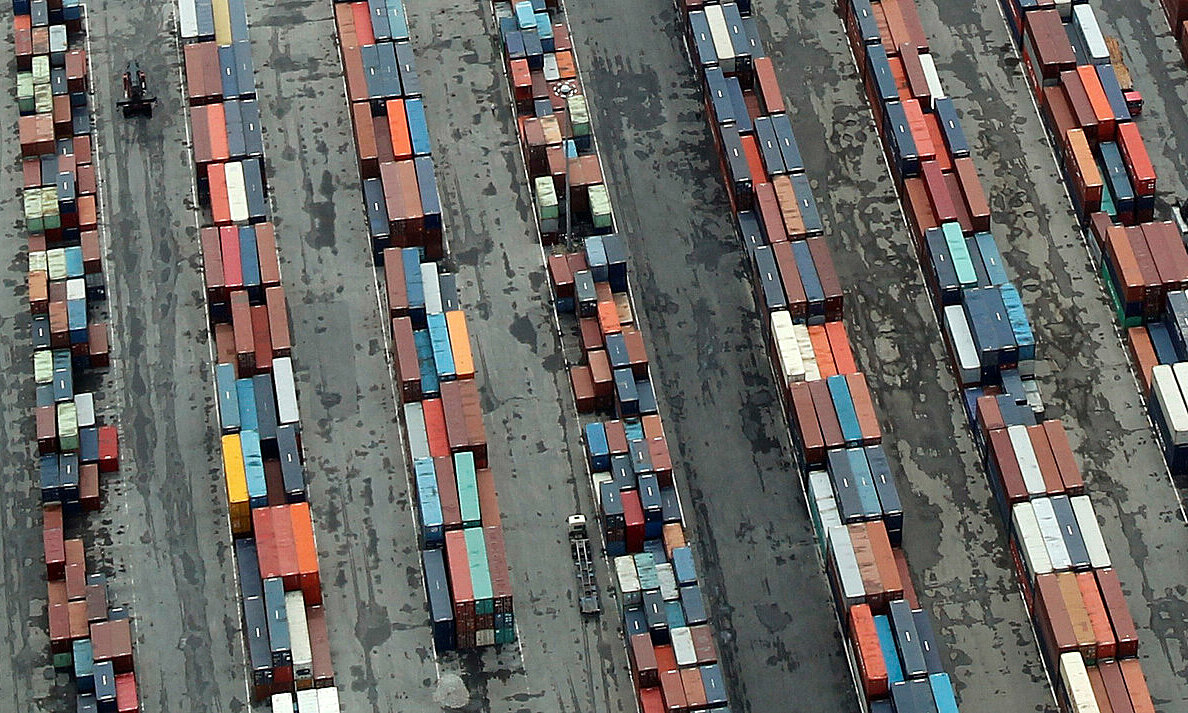 Containers of Dinh Vu Port in Hai Phong, northern Vietnam, are seen from above. Photo by Reuters/Kham.