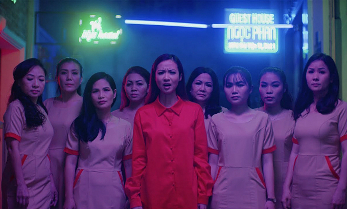 Suboi (red shirt) in her MV. Photo courtesy of Suboi.