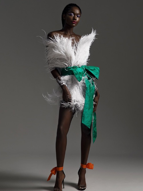 The feather fashion trend is picked up with a fluffy design.Hung was born in 1988 in the northern province of Yen Bai. In the last four years he has launched four fashion collections, which included children's designs he showcased at the Vietnam Junior Fashion Week 2019