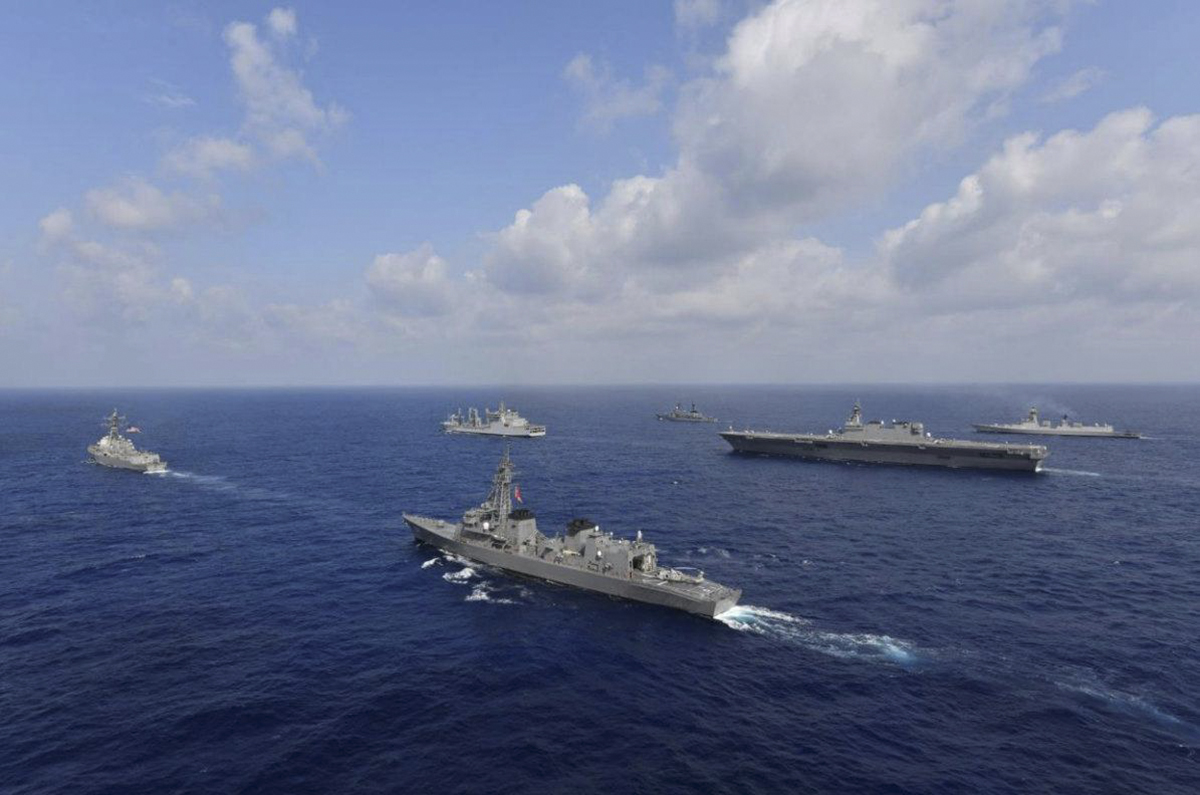 Vessels from the U.S. Navy, Indian Navy, Japan Maritime Self-Defense Force and the Philippine Navy sail in formation in South China Sea, May 9, 2019. Photo handed out via Reuters.