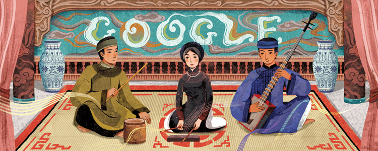 The illustration on Googles homepage, depicts a typical ca tru performance.