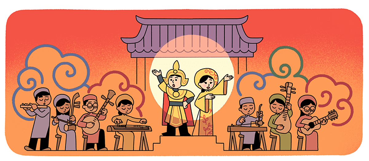 The illustration on Googles homepage on September 28, 2020 depicts a cai luong performance.