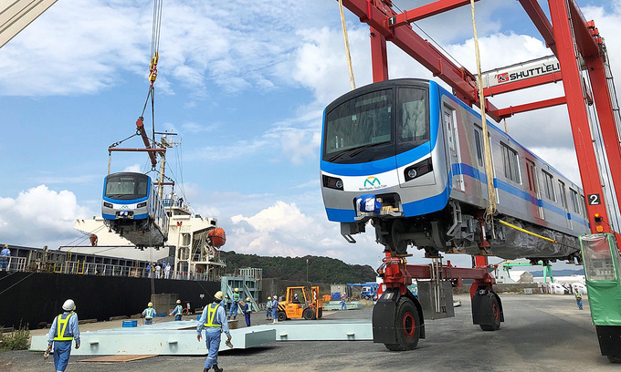 Train coaches for HCMC's first metro line leave Japan