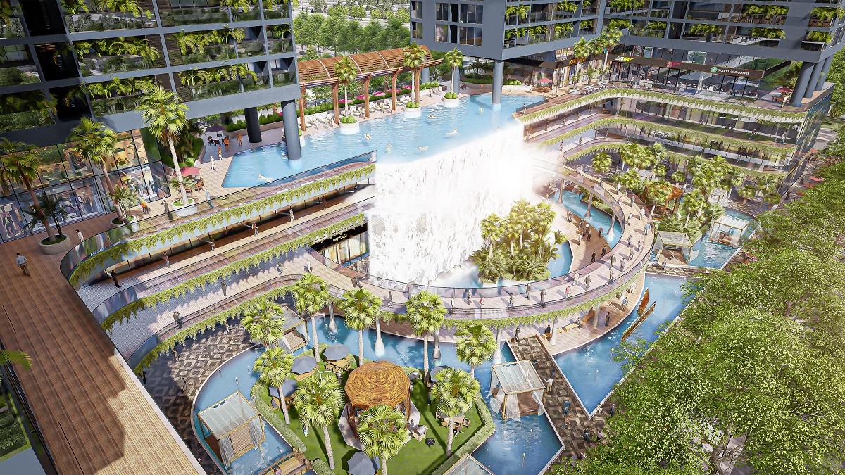 Ample greenery and waterway help provide a cool and natural breezeway at Sunshine Horizon.
