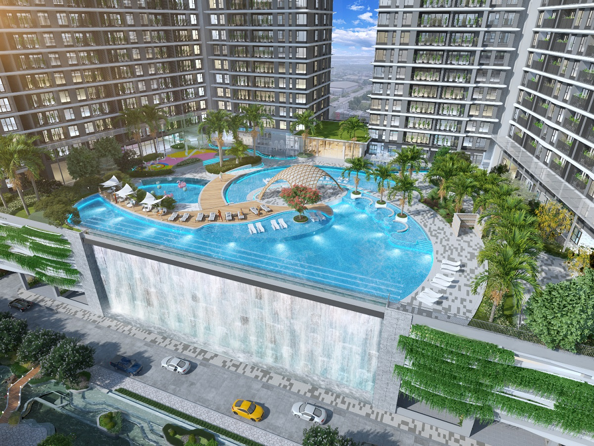 Extended community area, including a swimming pool for residents.