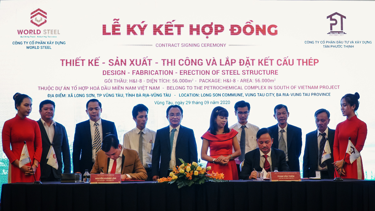 The signing ceremony of cooperation in design - production - construction for Long Son Petrochemicals project at Vung Tau Imperial Hotel.