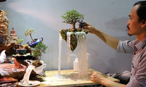 Hanoi artist transforms bonsai trees into floating islands