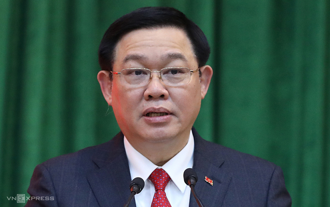 Secretary of Hanoi Party Committee for the 2020-2025 term Vuong Dinh Hue. Photo by VnExpress/Ngoc Thanh.