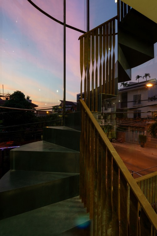 Sunset view from the staircase of the 250-meter-square house. Photo by Dung Huynh.