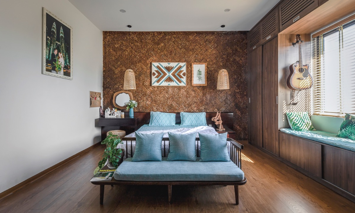 Wooden furniture in the bedroom creates a sense of coziness.