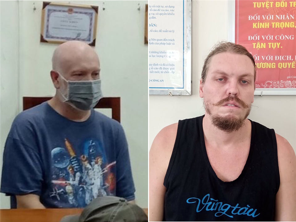 Wade Astle (L) and Hammmett Andrew, two American fugitives, are at police stations in HCMC and the neighboring Ba Ria-Vung Tau Province. Photo courtesy of the police.