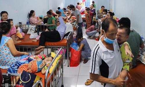 Hand, foot, and mouth disease has Saigon children sleeping in hospital hallway