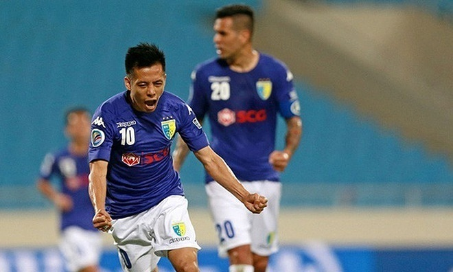 Nguyen Van Quyet celebrates his goal against Ceres Negros in AFC Cup 2017. Photo courtesy of Hanoi FC.