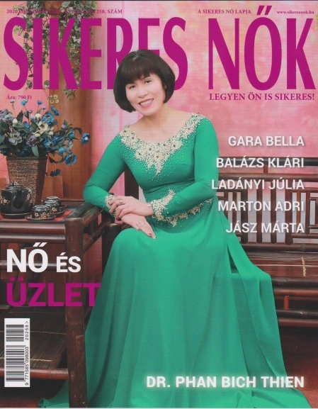 Phan Bich Thien on the cover of the October issue of Hungary's Successful Women magazine. Photo courtesy of Phan Bich Thien.