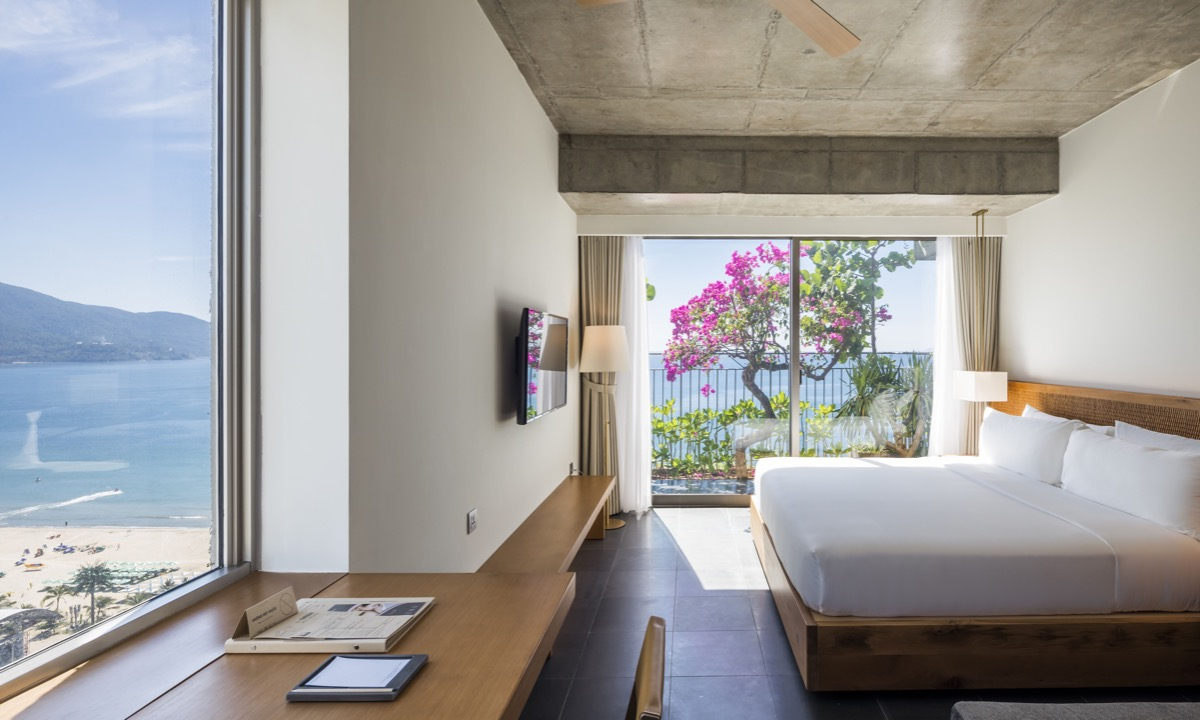 Plants help reduce sunlight entering the hotel rooms.