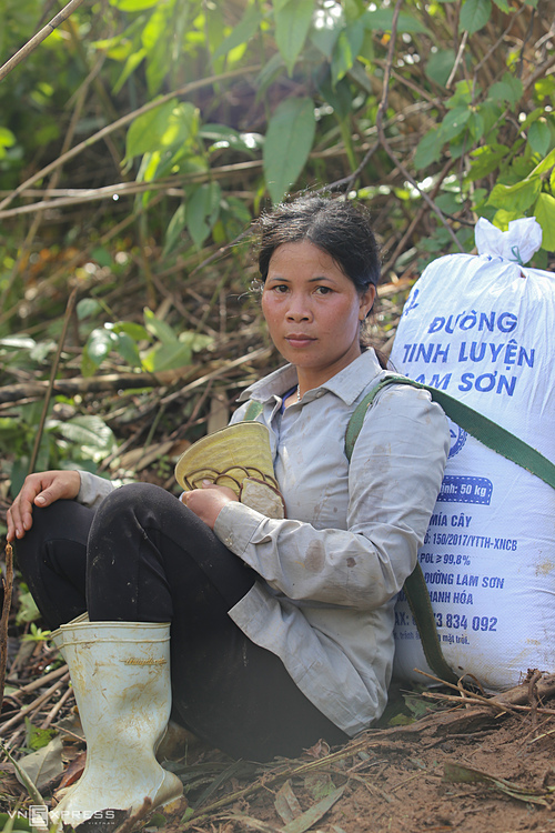 Ho Thi Nhon with 40kg of rice and some clothes on her shoulder takes a rest amid the forest.Yesterday (Sunday), I also took a walk to carry relief goods home and today I continued. Since October 28, heavy rains and floods damaged rice reserved in my house, Nho said.
