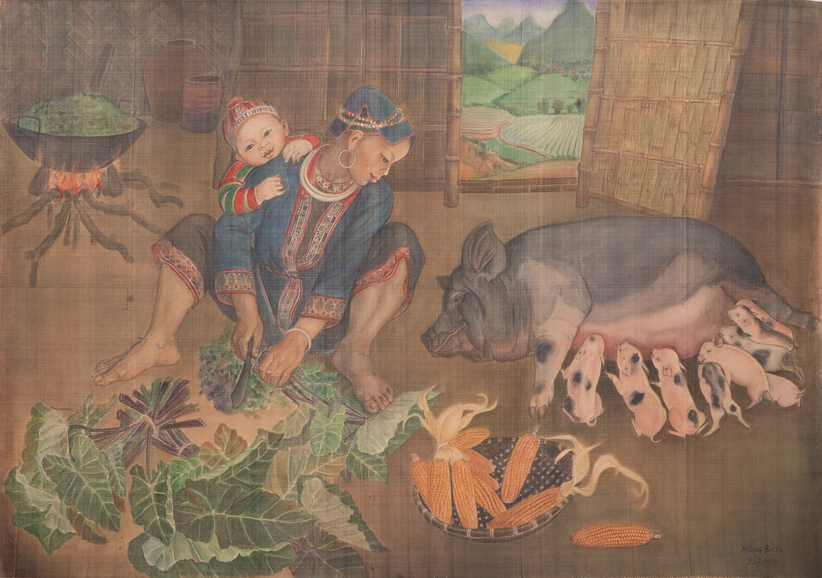 Mong Bich's 2000 silk painting 'Niem Vui' (Joy) features a Dao ethnic woman busy preparing food and taking care of her child in a beautiful mountainous setting. Photo provide by the artist's family.