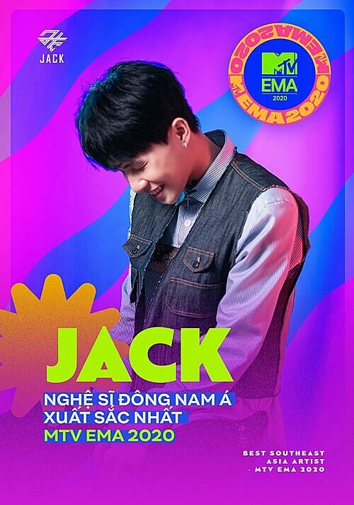 Vietnamese singer Jack wins Best Southeast Asia Act at 2020 MTV EMA. Photo courtesy of the artists Facebook.