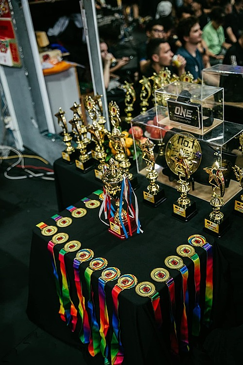 Nguyen Tran Duy Nhat Nhats One Championship medal and other awards at the No. 1 Muay Club Fight Night Warrior Spirit charity fight on November 8, 2020, in HCMC. Photo courtesy of Nguyen Tran Duy Nhat.