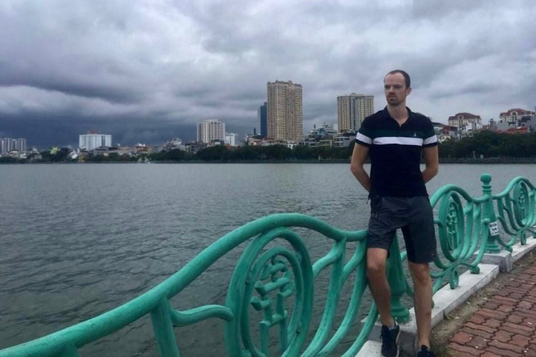 Bouter was at West Lake, Hanoi, in 2020. Photo courtesy by Bouter.