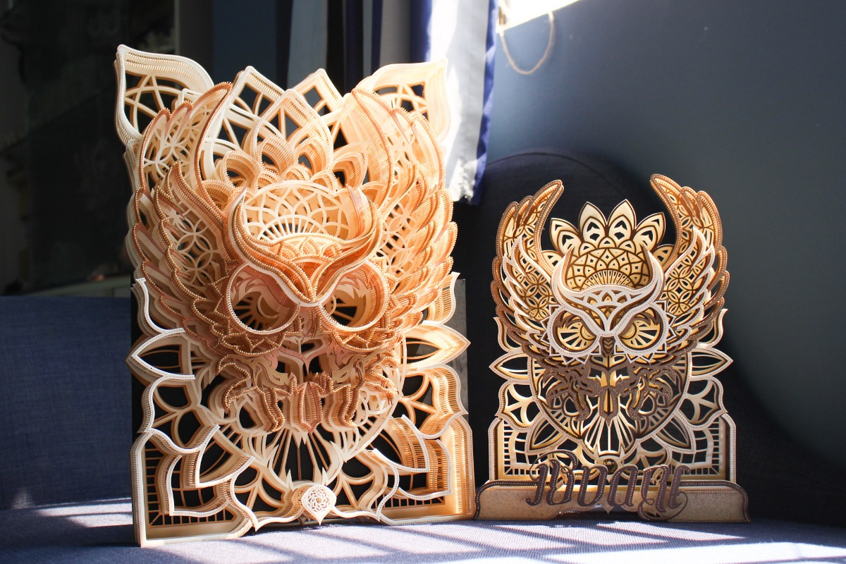 These owl heads took Long one week to make. The artisan usually makes many variations of his favorite products to improve his skills and creativity.