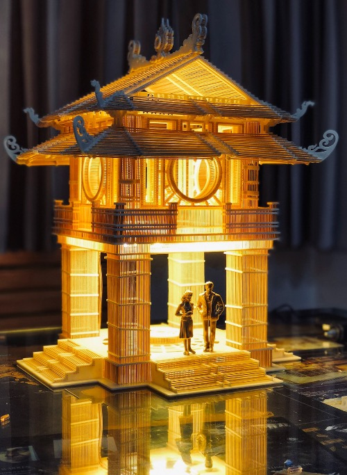 Khue Van Cac, the pavilion of the Constellation of Literature located inside the Temple of Literature in Hanoi, also has a toothpick replica.  A notable feature in Long's products is that he creates vacancies among toothpicks, allowing him to have lighting effects.