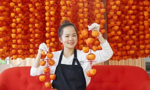 Sun-kissed persimmons fruit of their labor for Da Lat farmers