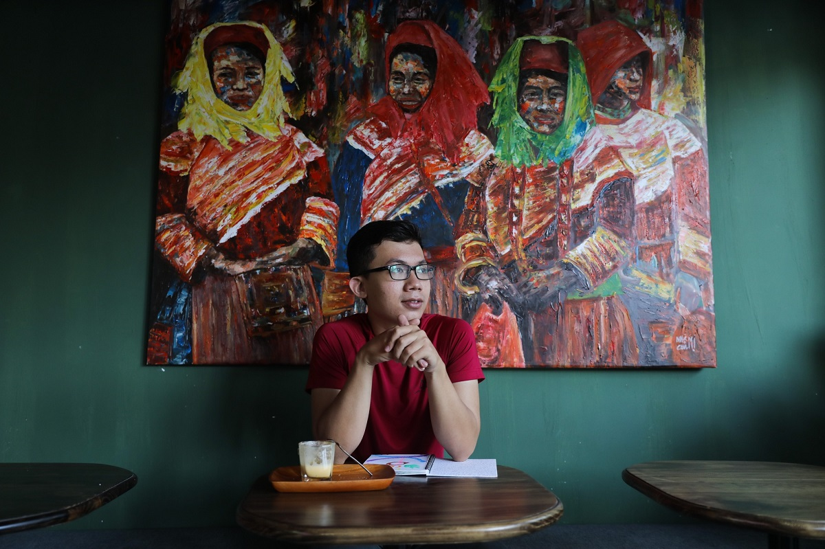 Artistic, colorful portraits of the northwestern region's ethnic people in traditional costumes hang on the walls throughout the cafe.