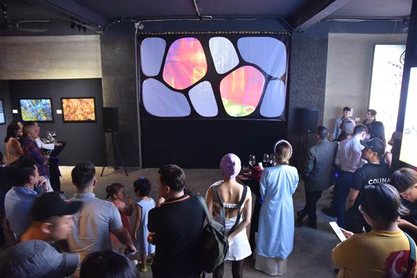 Guests experienced interactive sound technology with artwork.
