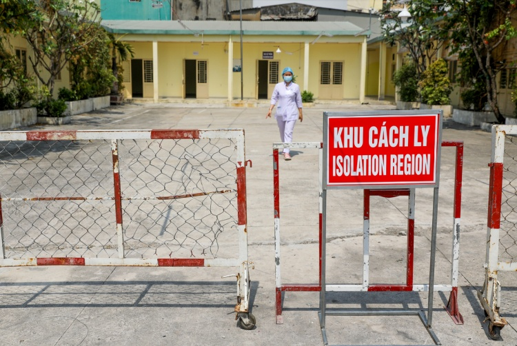 A quarantine zone in District 3, HCMC. Photo by VnExpress/Quynh Tran.