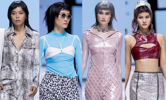 Fashion trends such as outfits with leather patterns, bras-over-shirts, knitted dresses, and cutout shirts, all appear in Tris latest collection.