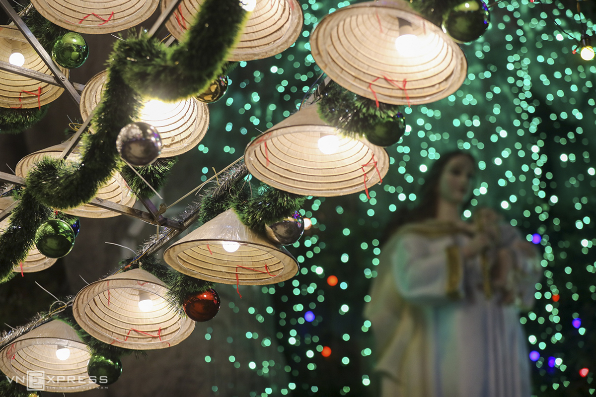 A closer look at the hats that make the Chritmas tree, built completely from contributions of parishioners.