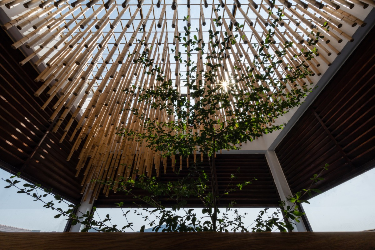 The top of the atrium is filled with bamboo sticks. This enables a visual connection with the façade while serving as a sunshade.