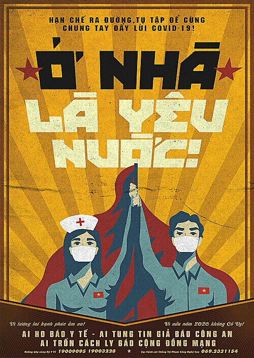 The poster drawn by Le Duc Hiep says: to stay at home is to love your country. Photo courtesy of Le Duc Hiep.
